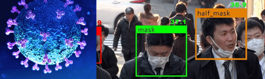 crowd of people being searched for mask wearing