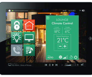 tablet with heating control app opened