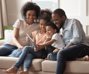 family enjoying time together in warm room