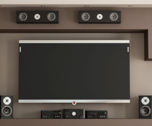 close up of flat screen tv and speaker system