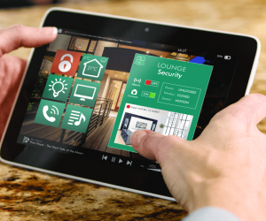 close up of tablet using the security app